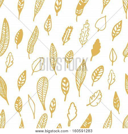 Hand Drawn floral seamless pattern with leaves. Vintage decorative plants for design background invitations greeting cards flayers scrapbooking etc