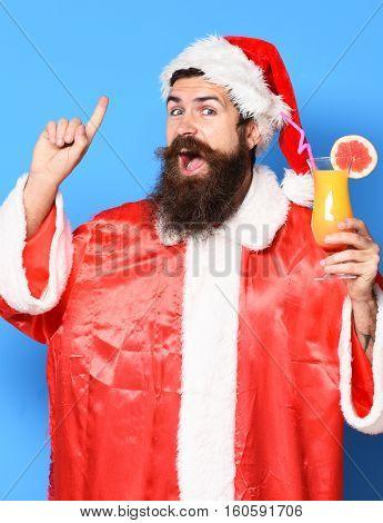 Happy Bearded Santa Claus Man