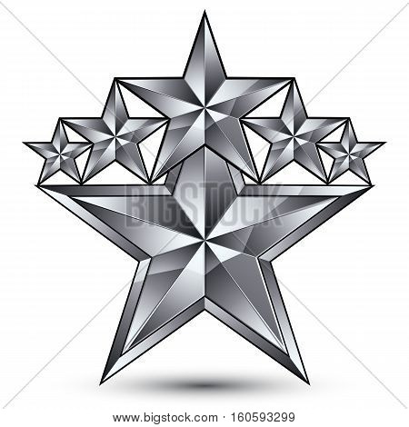 Geometric Vector Classic Silver Element Isolated On White Backdrop, 3D Gray Decorative Stars, Silver