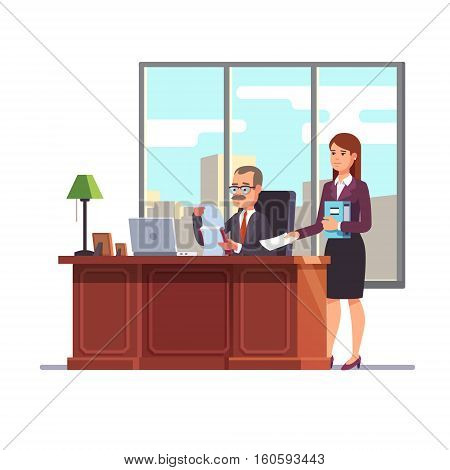 Business executive with a secretary at his desk giving a paper for a signature. Flat style modern vector illustration.