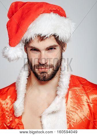 Handsome Man In Santa Suit