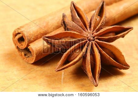 Star anise and cinnamon stick - close up