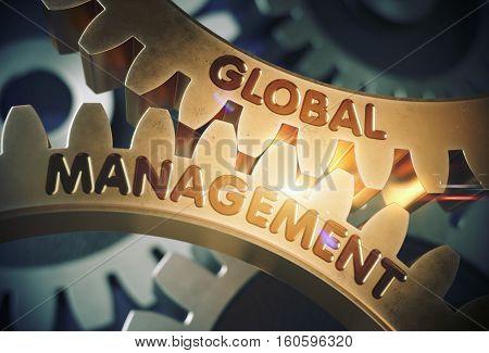 Golden Metallic Gears with Global Management Concept. Global Management on the Golden Cog Gears. 3D Rendering.