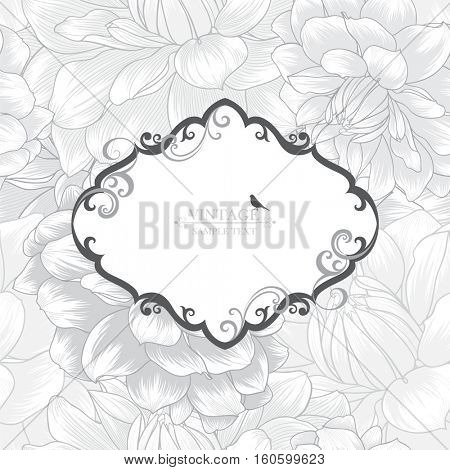 Vintage floral abstract hand drawn frame with flowers dahlias.