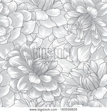Beautiful monochrome abstract seamless hand drawn floral pattern with dahlias flowers. Vector illustration. Element for design.