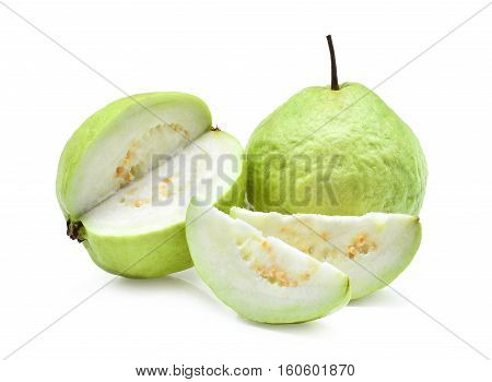 fresh guava fruit with slice isolated on white background