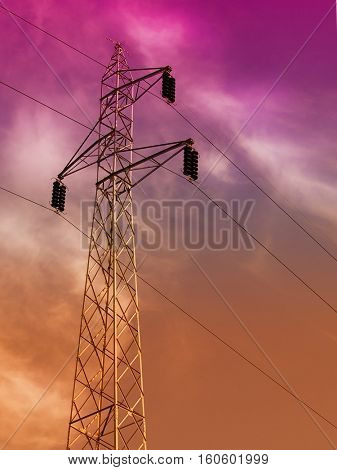 High voltage electric tower elements with sky background.Industrial background with metal constructions