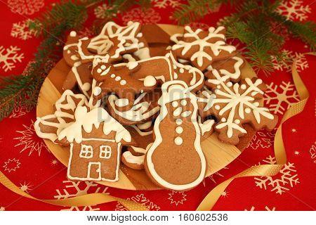 Gingerbread cookies on plate - Christmas sweet food