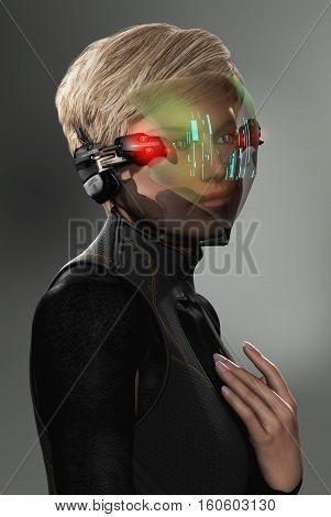 3D illustration of a young woman with a futuristic data visor with a HUD display.
