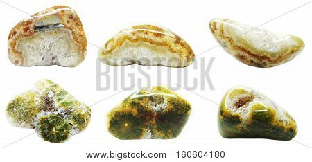 agate with chalcedony geological crystal collage isolated