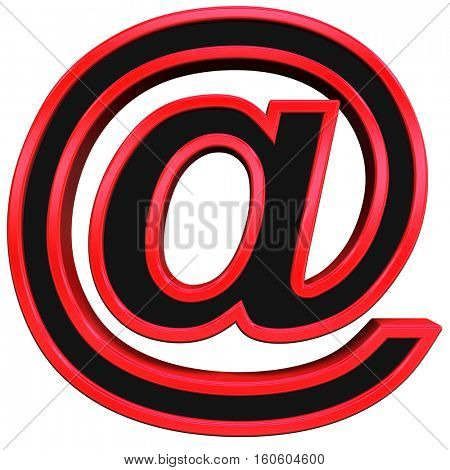 E-mail sign from black with red frame alphabet set, isolated on white. 3D illustration.