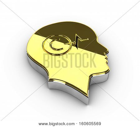 3d Illustration of gold Copyright symbol on white background