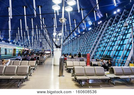 Passengers Wait For Departure In Pudong Airport