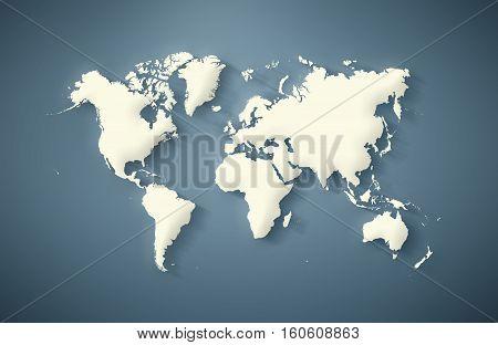 World Map 3D illustration on neutral background