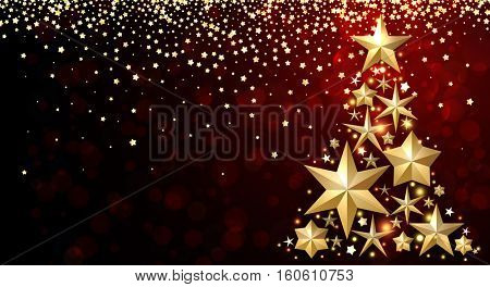Red background with abstract Christmas tree and stars. Vector illustration.