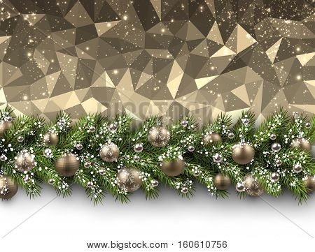 Christmas golden geometric background with fir branch and balls. Vector illustration.