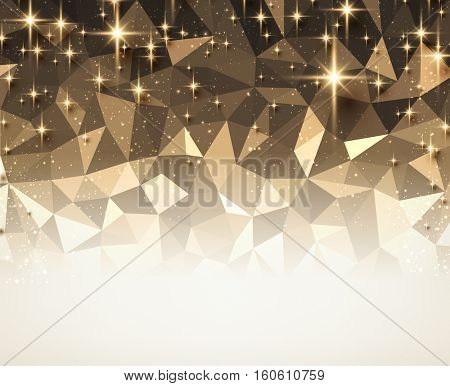 Bronze festive geometric mosaic abstract background. Vector illustration.