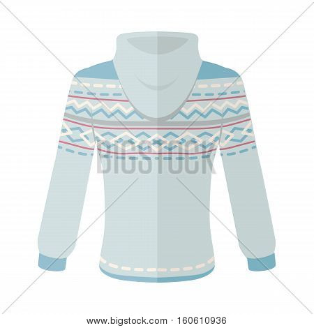 Warm sweater with turn-over collar and ornaments Elegant blue unisex wear flat vector isolated on white background. Clothing for autumn and winter seasons cold weather. For store ad, fashion concept