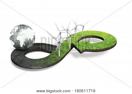 Green Circular Economy Concept, 3D Rendering