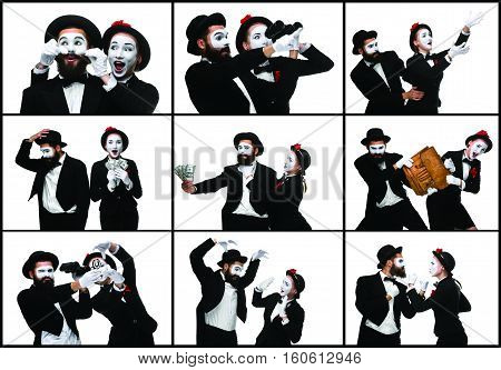 The collage from images of two mimes as business man and woman fighting on white background. the concept of the struggle for power and position