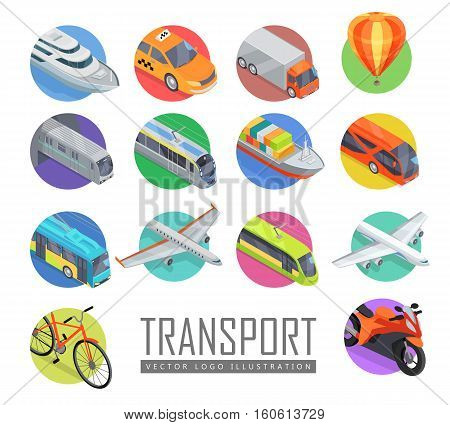 Transport vector logo illustration. Set of transport icons. Vector in isometric projection. Road, railway, flying, water, personal, public, commercial transport with caption. For ad design, app games