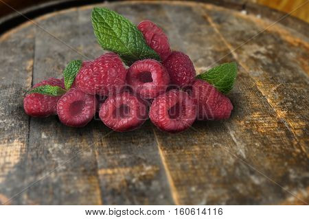 Extreme close-up image of raspberries