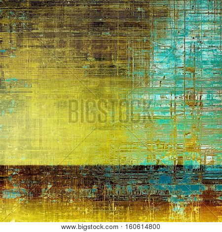 Abstract scratched background or frame with weathered grunge texture. Ancient style backdrop with different color patterns: yellow (beige); brown; green; blue; cyan