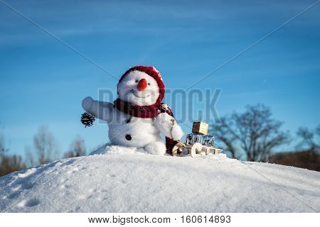 Happy snowman with hat in the snow