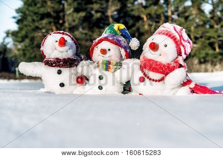 Happy snowman family with hats n the snow