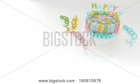 Birthday Background With Decorative Colorful Cake And Streamers