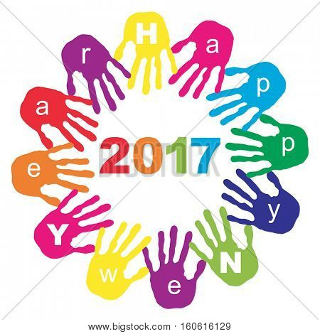 Concept or conceptual circle of colorful hand print word cloud text made by children for Happy New Year 2017 greeting isolated on white background