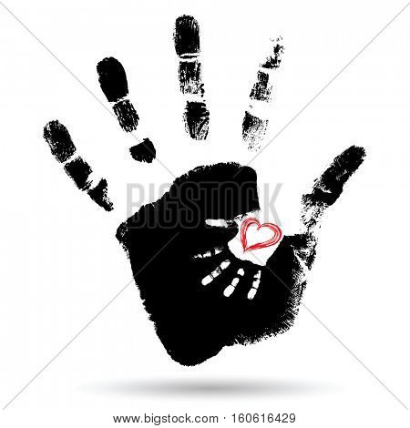 Concept or conceptual cute paint hand of mother child and heart shape isolated on white