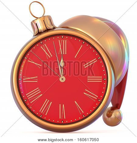 Christmas ball clock midnight last hour New Year's Eve countdown time Santa Claus hat red golden adornment ornament decoration. Traditional happy wintertime holiday future pressure. 3d illustration