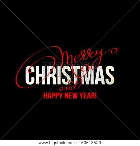 Merry Christmas Lettering Design on black background. Vector illustration.