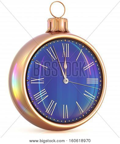 New Year's Eve last hour clock midnight countdown pressure Christmas ball decoration ornament black gold sparkly adornment bauble. 3d illustration
