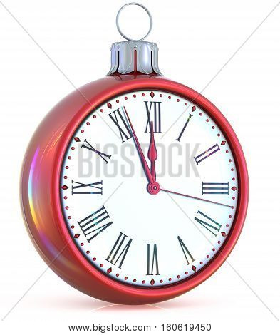 New Year's Eve clock midnight last hour countdown pressure Christmas ball ornament decoration red white sparkly adornment bauble.  3d illustration