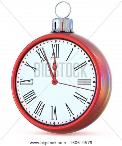 Christmas ball New Year's Eve clock midnight last hour countdown pressure ornament red white sparkly adornment bauble decoration. 3d illustration
