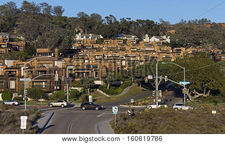 Magnificent landscape in vicinities of small city in California.