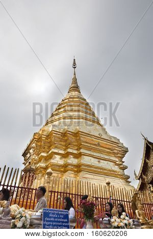 Golden Pagoda At Wat Phra That Doi Suthep, Chiang Mai, Popular Historical Temple In Thailand.