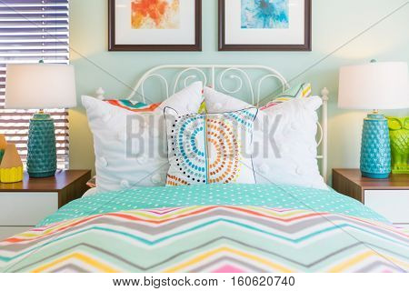 Vibrant Colored Interior Bedroom of New House.