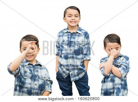 Cute Mixed Race Boy Portrait Variety Isolated on White.