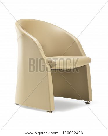 Armchair for waiting room of beige leather isolated on white background