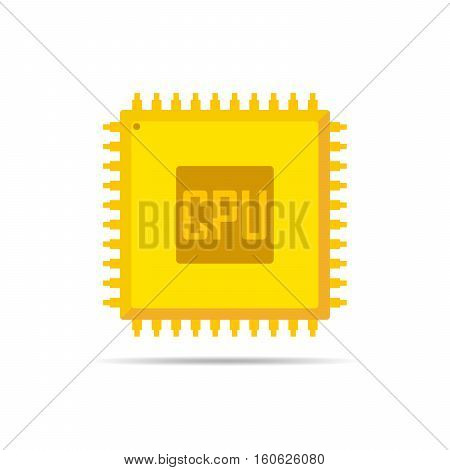 Yellow chip icon in flat design. Simple microchip icon. Microcircuit flat sign. Vector illustration.