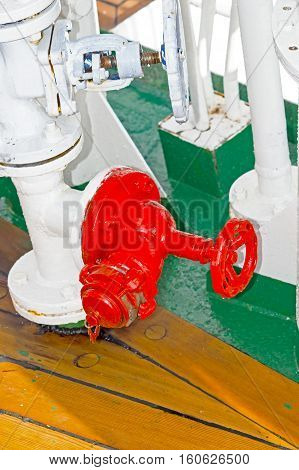 the Fire security crane on a ship