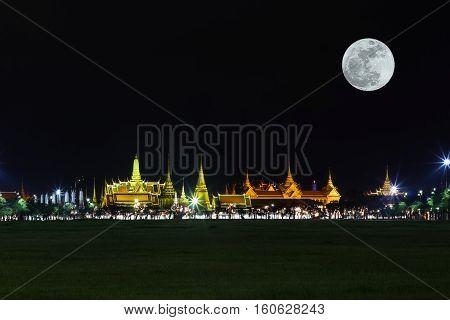 Wat Pra Kaew Public Temple Grand Palace With Super Moon At Night, Bangkok Thailand