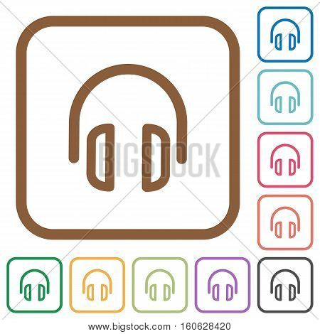Headset simple icons in color rounded square frames on white background