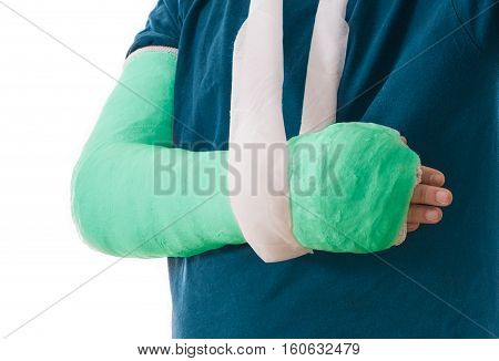 Broken Arm In Green Plaster Cast And Sling