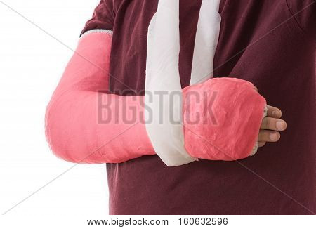 Broken Arm In Red Plaster Cast And Sling