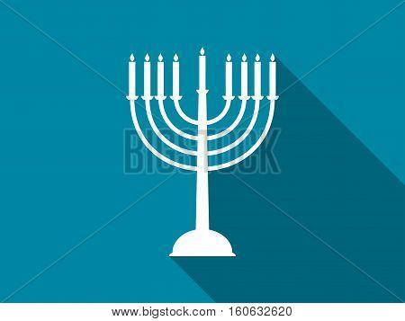 Hanukkah candles with long shadow. Vector illustration.