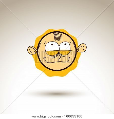 Vector artistic colorful drawing of tricky person face communication and social network design element isolated on white. Allegory illustration emotions and human temperament conceptual image.